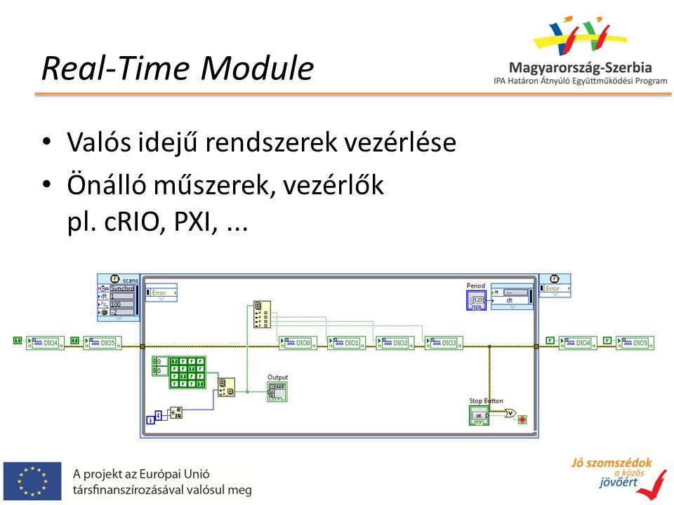 Real-Time Module Valós idejű rendszerek vezérlése Önálló műszerek, vezérlők pl. cRIO, PXI,...