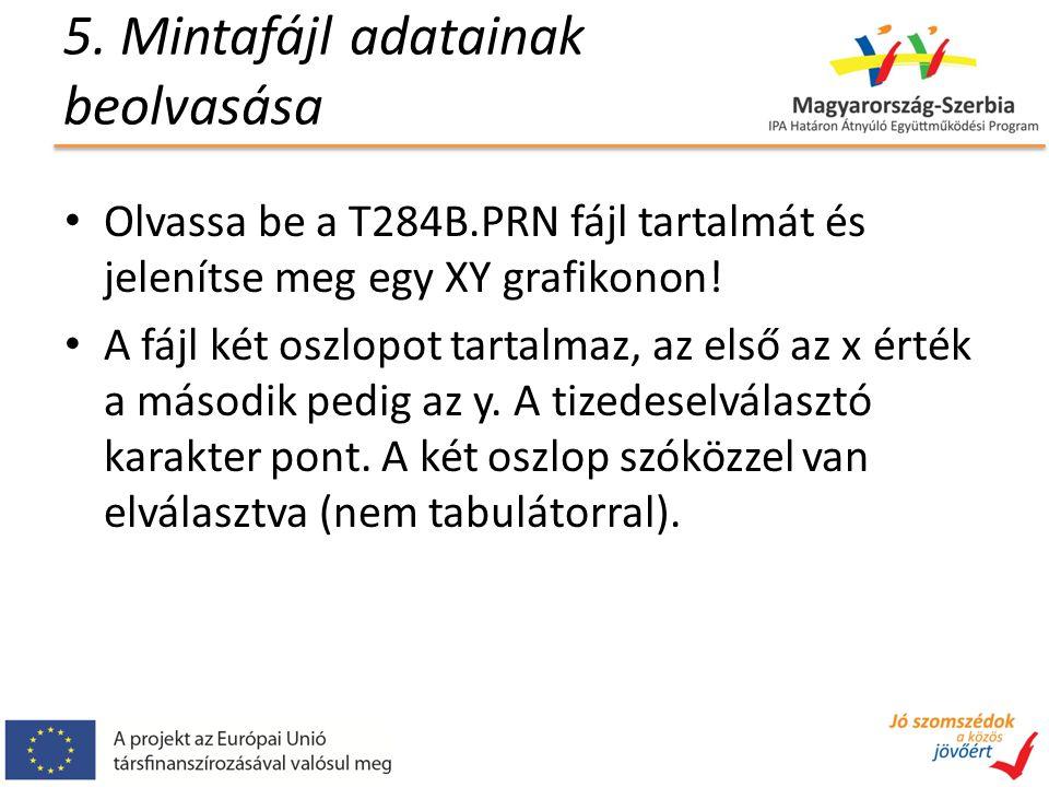 5. Mintafájl adatainak beolvasása Olvassa be a T284B.PRN fájl tartalmát és jelenítse meg egy XY grafikonon! A fájl két oszlopot tartalmaz, az első az
