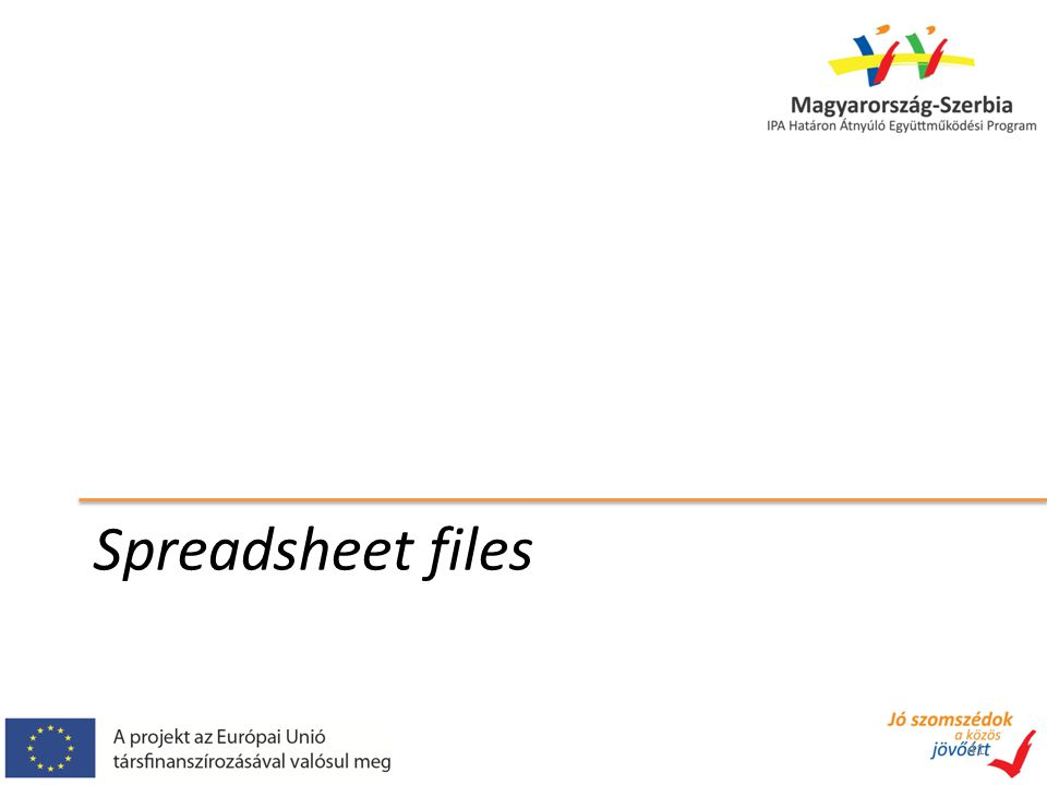 Spreadsheet files 41