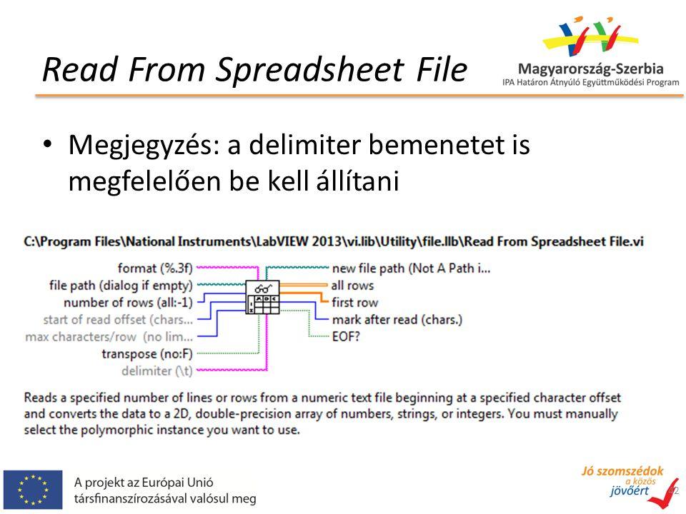 Read From Spreadsheet File Megjegyzés: a delimiter bemenetet is megfelelően be kell állítani 42