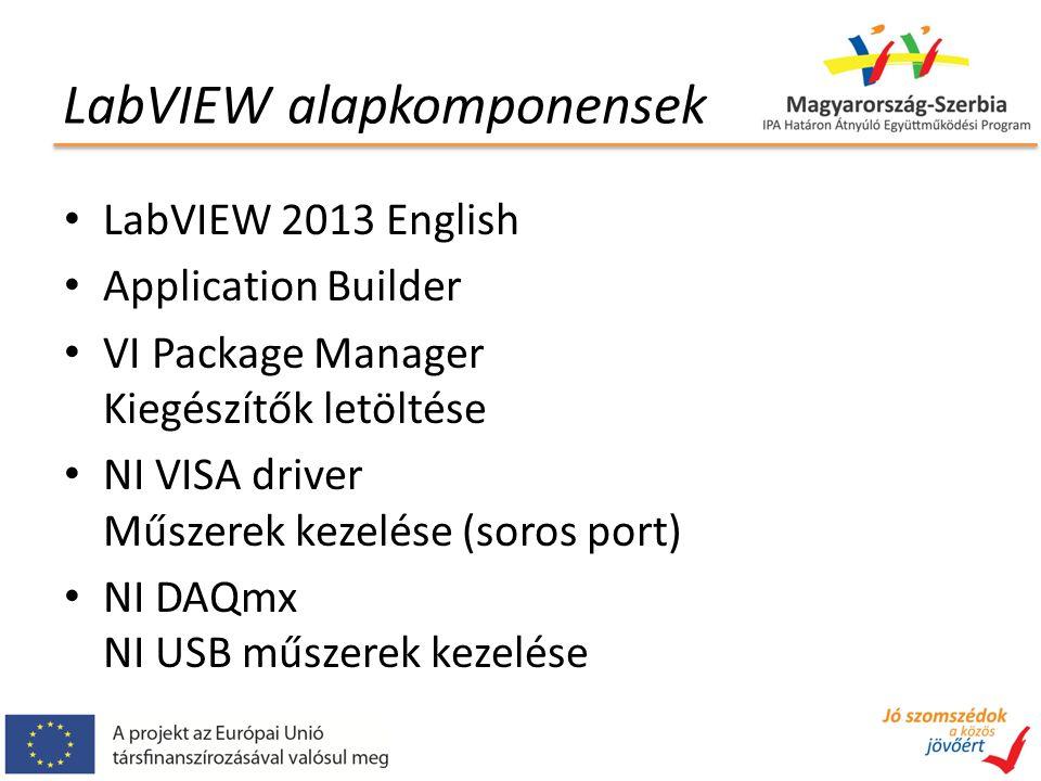 LabVIEW alapkomponensek LabVIEW 2013 English Application Builder VI Package Manager Kiegészítők letöltése NI VISA driver Műszerek kezelése (soros port) NI DAQmx NI USB műszerek kezelése