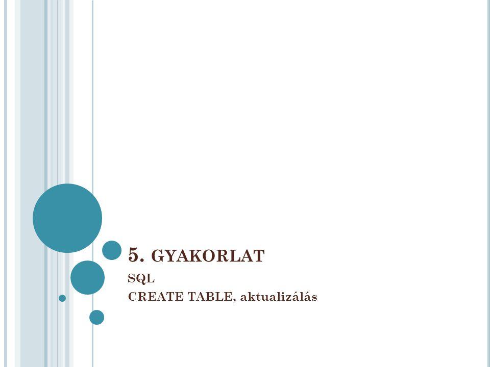 5. GYAKORLAT SQL CREATE TABLE, aktualizálás