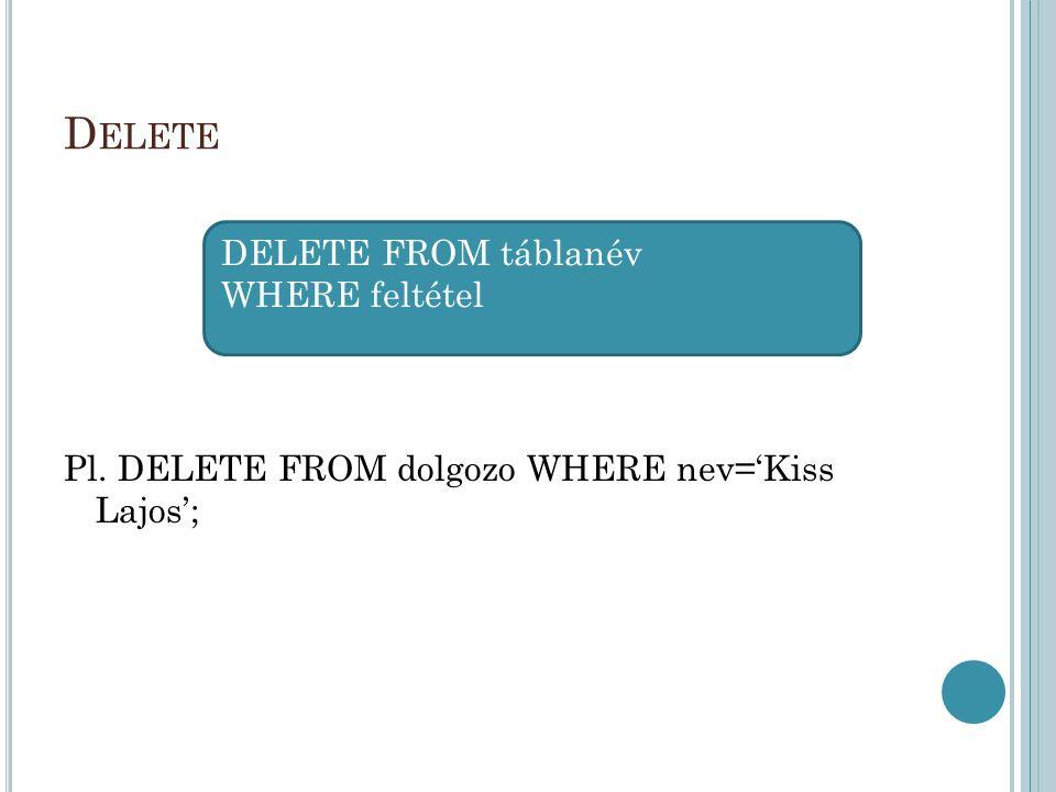 D ELETE Pl. DELETE FROM dolgozo WHERE nev='Kiss Lajos'; DELETE FROM táblanév WHERE feltétel
