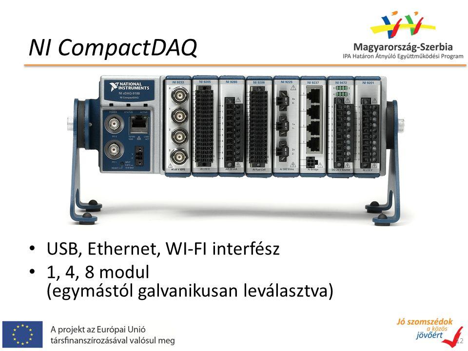 NI CompactDAQ USB, Ethernet, WI-FI interfész 1, 4, 8 modul (egymástól galvanikusan leválasztva) 12