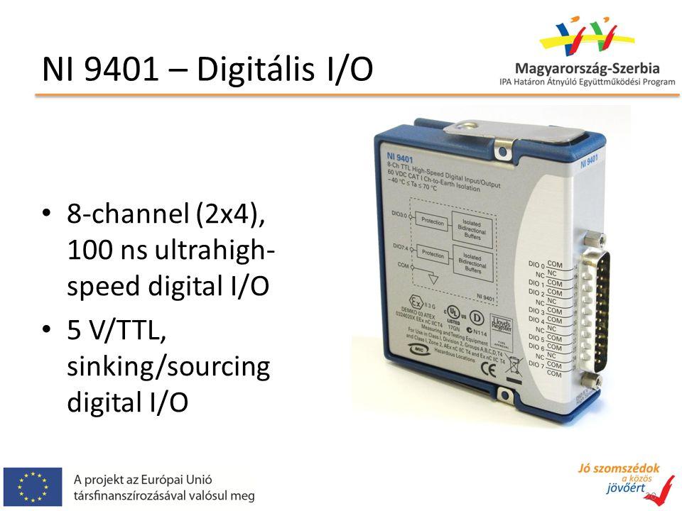 NI 9401 – Digitális I/O 8-channel (2x4), 100 ns ultrahigh- speed digital I/O 5 V/TTL, sinking/sourcing digital I/O 20