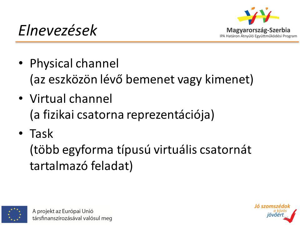 Elnevezések Physical channel (az eszközön lévő bemenet vagy kimenet) Virtual channel (a fizikai csatorna reprezentációja) Task (több egyforma típusú v