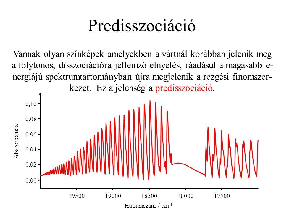 Predisszociáció Vannak olyan színképek amelyekben a vártnál korábban jelenik meg a folytonos, disszociációra jellemző elnyelés, ráadásul a magasabb e-