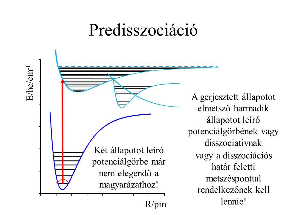 Predisszociáció R/pm E/hc/cm -1 Két állapotot leíró potenciálgörbe már nem elegendő a magyarázathoz! vagy a disszociációs határ feletti metszésponttal