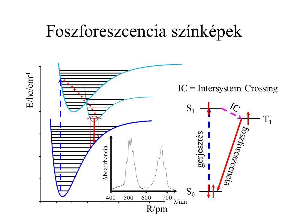 Foszforeszcencia színképek R/pm E/hc/cm -1 T1T1 S1S1 gerjesztés S0S0 foszforeszcencia IC IC = Intersystem Crossing 400 500 600 700 λ/nm Abszorbancia