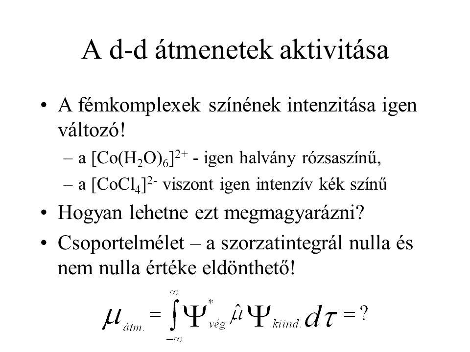 A d-d átmenetek aktivitása A fémkomplexek színének intenzitása igen változó! –a [Co(H 2 O) 6 ] 2+ - igen halvány rózsaszínű, –a [CoCl 4 ] 2- viszont i