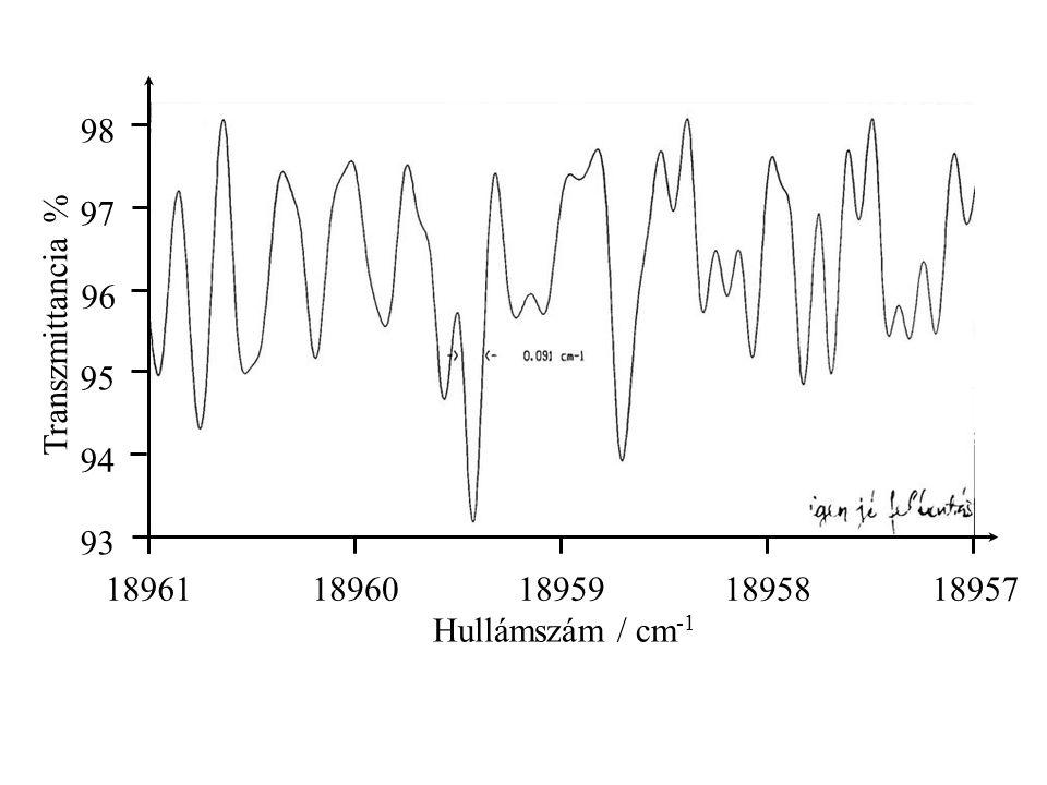 Predisszociáció R/pm E/hc/cm -1 Két állapotot leíró potenciálgörbe már nem elegendő a magyarázathoz.