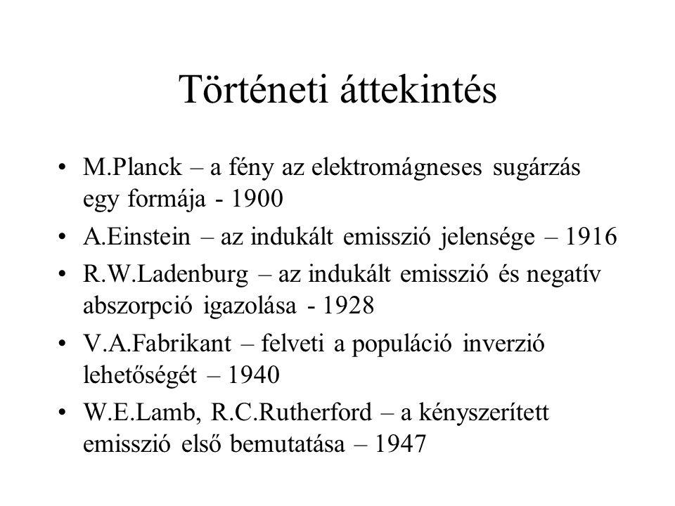 Történeti áttekintés M.Planck – a fény az elektromágneses sugárzás egy formája - 1900 A.Einstein – az indukált emisszió jelensége – 1916 R.W.Ladenburg