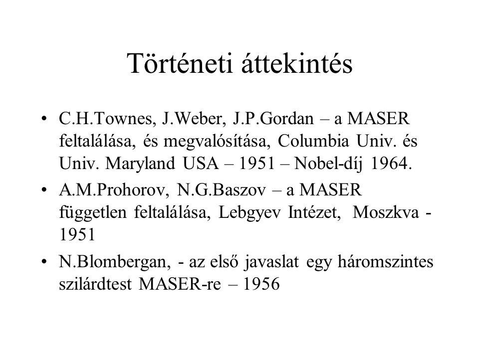 Történeti áttekintés C.H.Townes, J.Weber, J.P.Gordan – a MASER feltalálása, és megvalósítása, Columbia Univ. és Univ. Maryland USA – 1951 – Nobel-díj