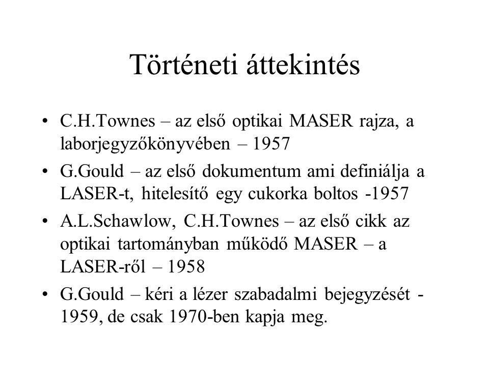 Történeti áttekintés C.H.Townes – az első optikai MASER rajza, a laborjegyzőkönyvében – 1957 G.Gould – az első dokumentum ami definiálja a LASER-t, hi