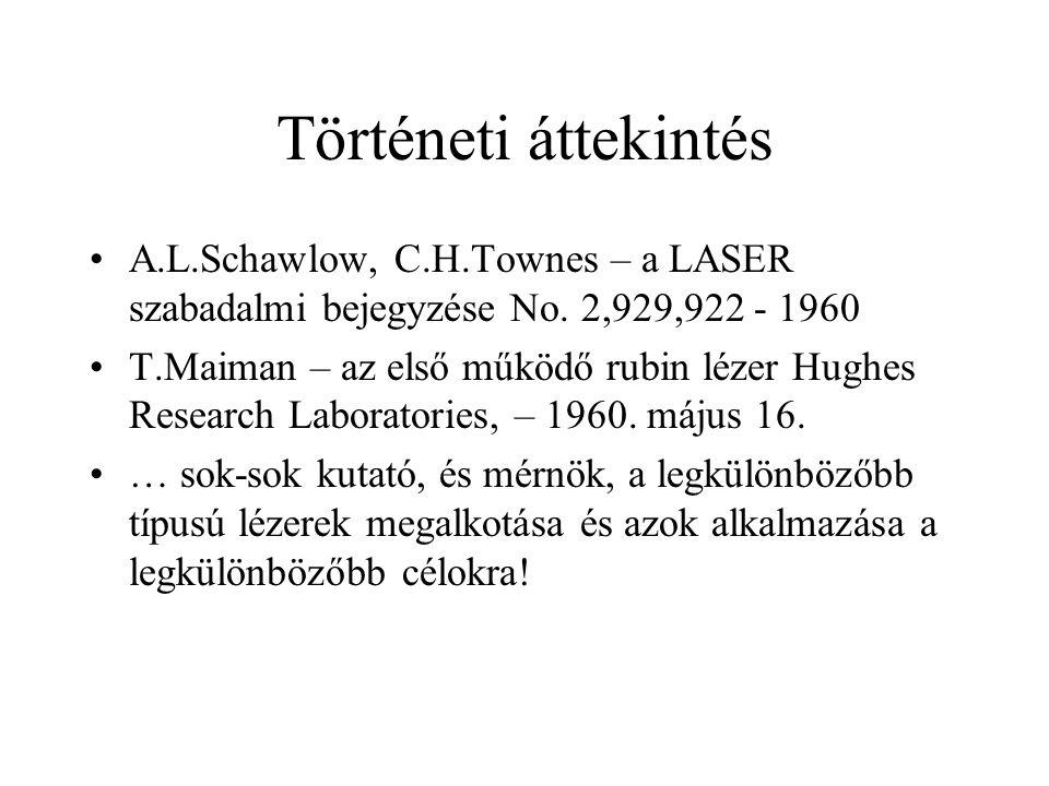 Történeti áttekintés A.L.Schawlow, C.H.Townes – a LASER szabadalmi bejegyzése No. 2,929,922 - 1960 T.Maiman – az első működő rubin lézer Hughes Resear