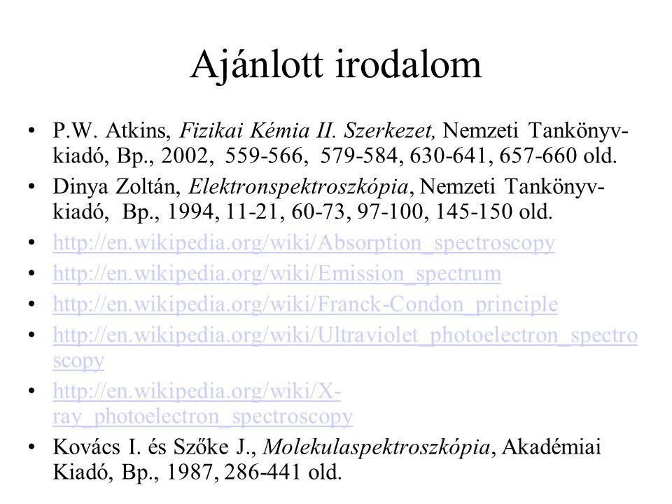 Ajánlott irodalom P.W. Atkins, Fizikai Kémia II. Szerkezet, Nemzeti Tankönyv- kiadó, Bp., 2002, 559-566, 579-584, 630-641, 657-660 old. Dinya Zoltán,