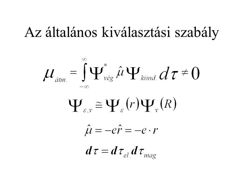 Az első tag konstans, ha ugyanazon két elektronállapot közt történik az átmenet.