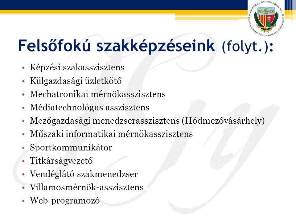 Felsőfokú szakképzéseink (folyt.): Képzési szakasszisztens Külgazdasági üzletkötő Mechatronikai mérnökasszisztens Médiatechnológus asszisztens Mezőgaz