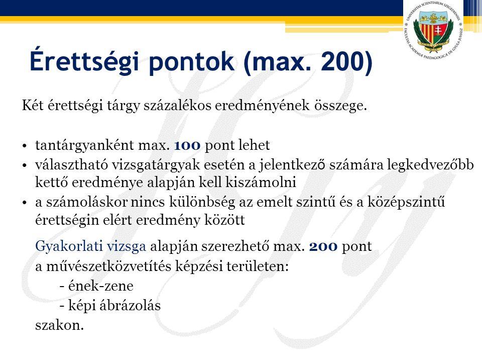 Érettségi pontok (max. 200) Két érettségi tárgy százalékos eredményének összege. tantárgyanként max. 100 pont lehet választható vizsgatárgyak esetén a
