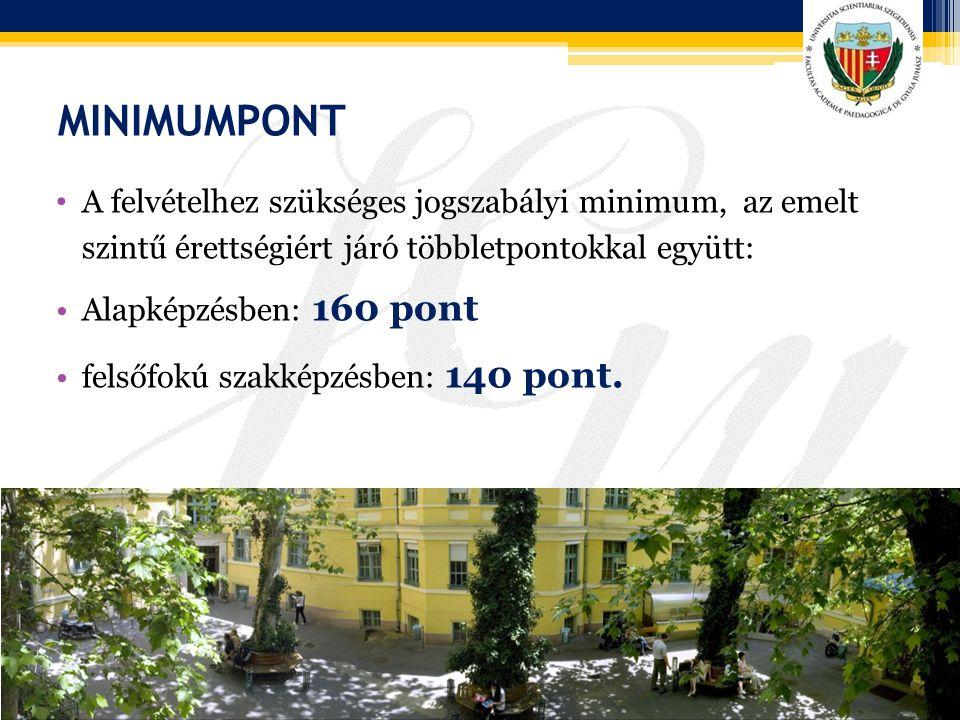MINIMUMPONT A felvételhez szükséges jogszabályi minimum, az emelt szintű érettségiért járó többletpontokkal együtt: Alapképzésben: 160 pont felsőfokú