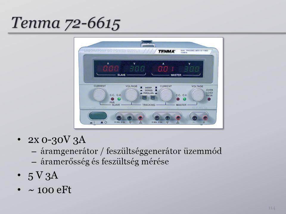 Tenma 72-6615 2x 0-30V 3A – áramgenerátor / feszültséggenerátor üzemmód – áramerősség és feszültség mérése 5 V 3A ~ 100 eFt 114