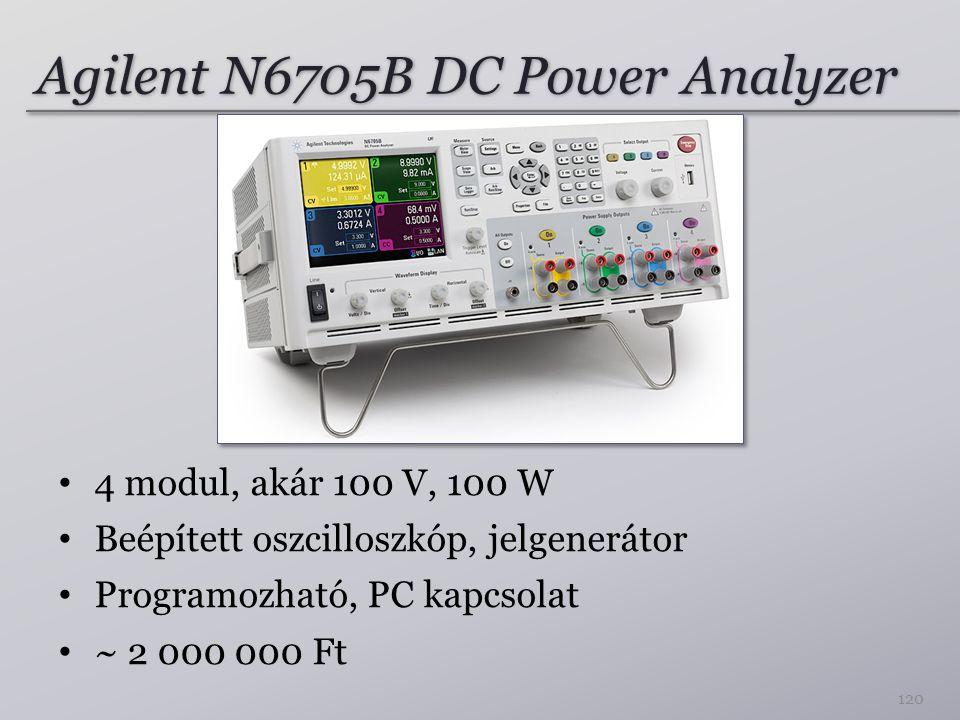 Agilent N6705B DC Power Analyzer 4 modul, akár 100 V, 100 W Beépített oszcilloszkóp, jelgenerátor Programozható, PC kapcsolat ~ 2 000 000 Ft 120