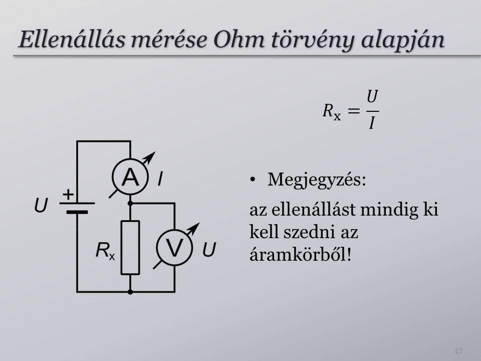 Ellenállás mérése Ohm törvény alapján 42