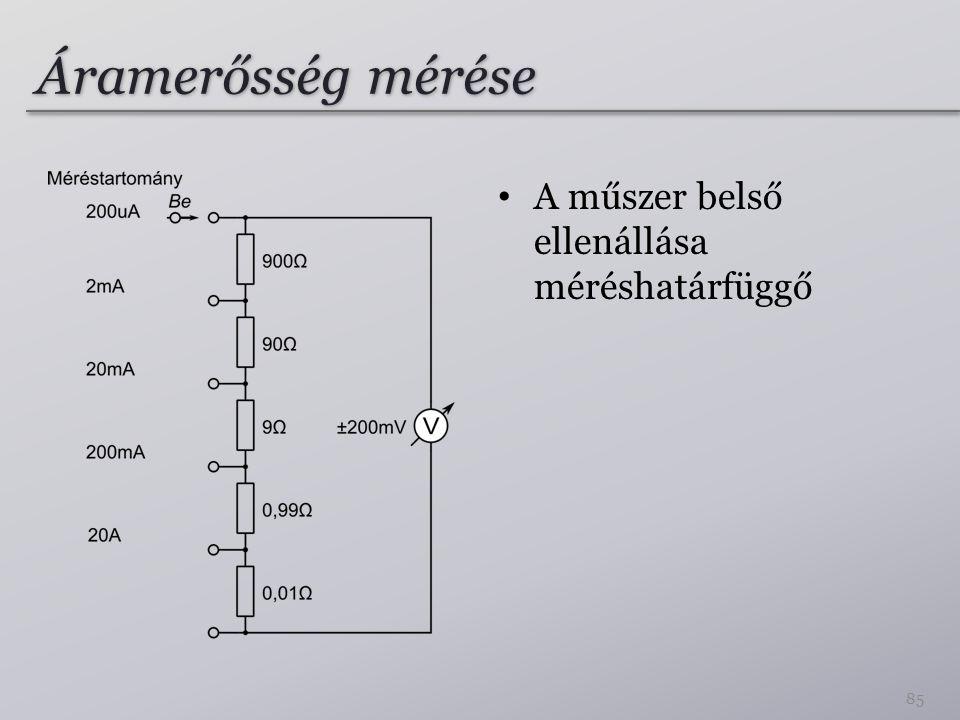 Áramerősség mérése A műszer belső ellenállása méréshatárfüggő 85