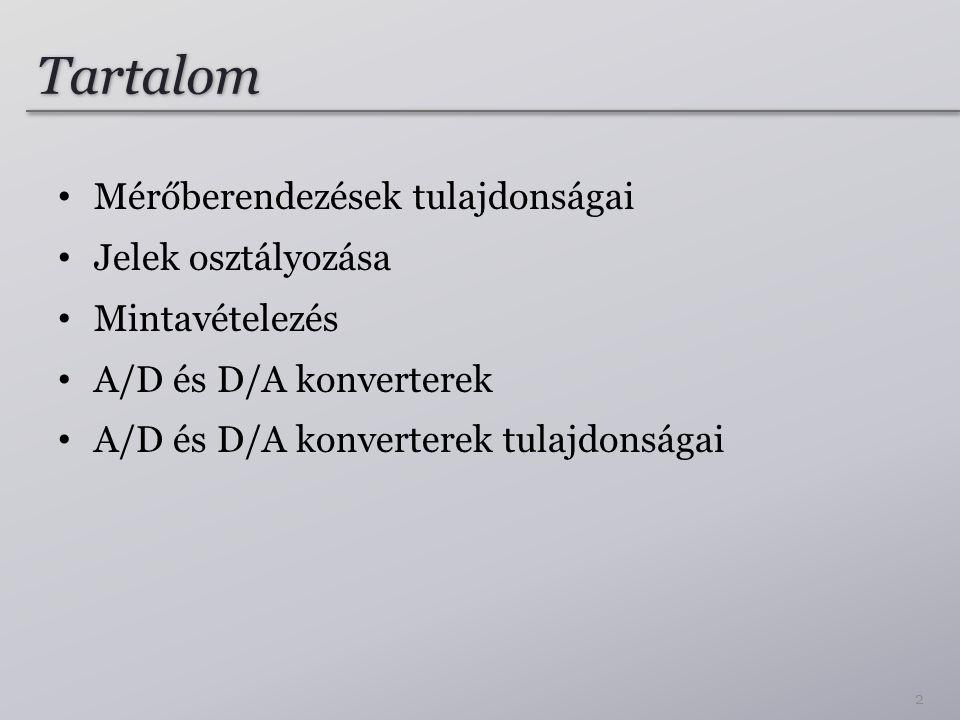 Tartalom Mérőberendezések tulajdonságai Jelek osztályozása Mintavételezés A/D és D/A konverterek A/D és D/A konverterek tulajdonságai 2