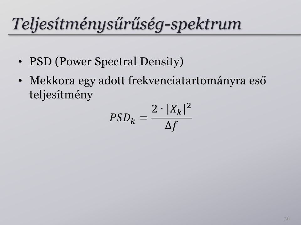 Teljesítménysűrűség-spektrum 36