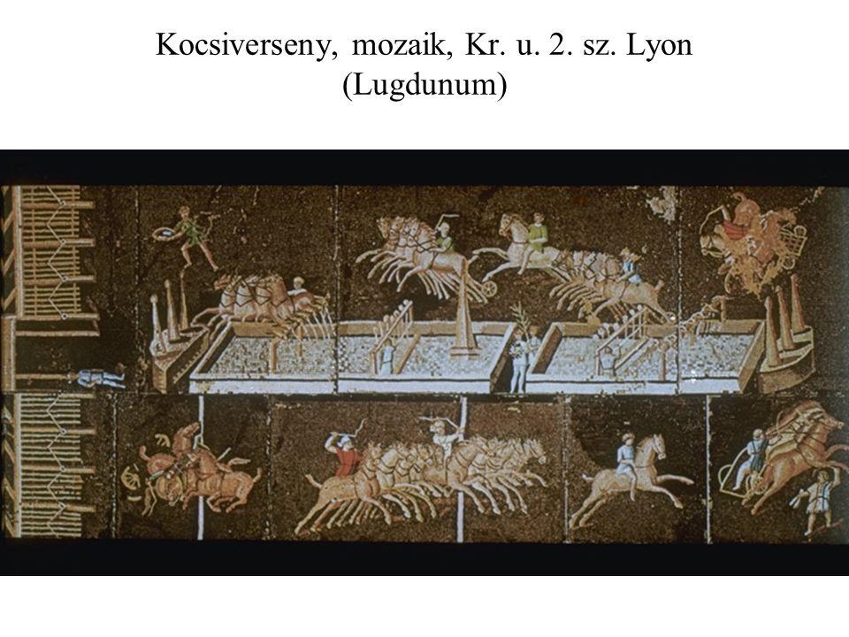 Kocsiverseny, mozaik, Kr. u. 2. sz. Lyon (Lugdunum)