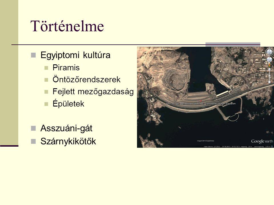 Történelme Egyiptomi kultúra Piramis Öntözőrendszerek Fejlett mezőgazdaság Épületek Asszuáni-gát Szárnykikötők