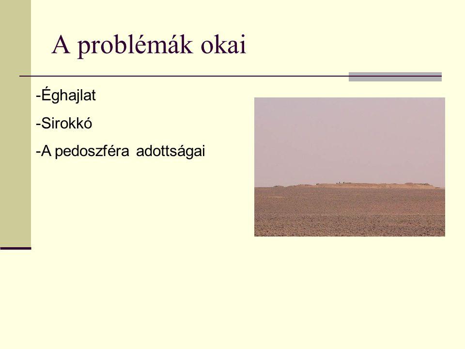 A problémák okai -Éghajlat -Sirokkó -A pedoszféra adottságai