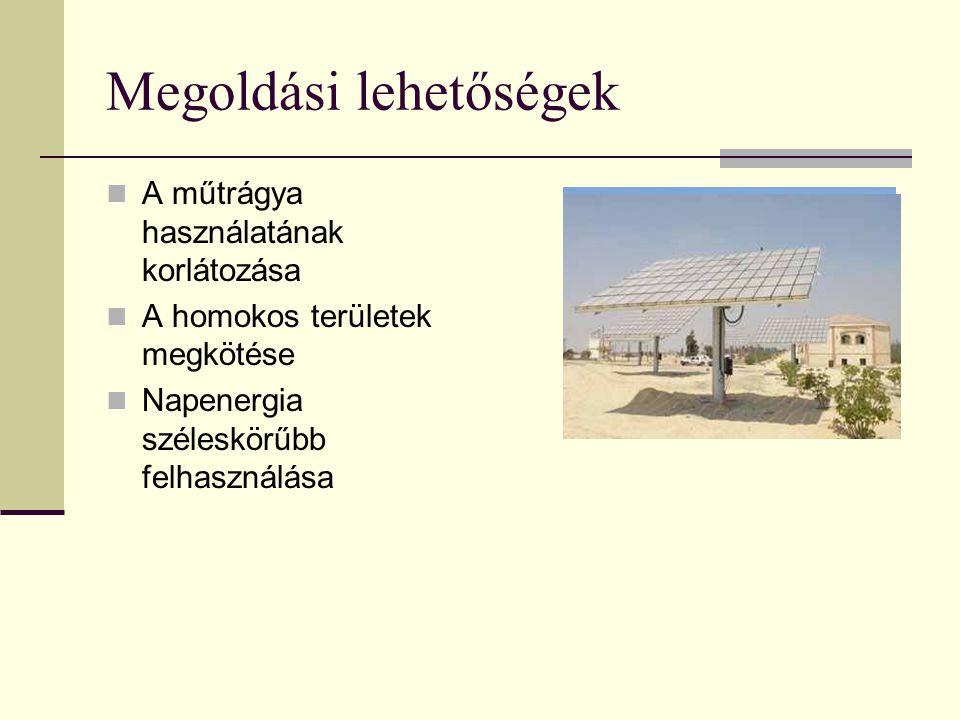 Megoldási lehetőségek A műtrágya használatának korlátozása A homokos területek megkötése Napenergia széleskörűbb felhasználása