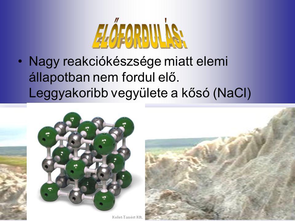 Nagy reakciókészsége miatt elemi állapotban nem fordul elő. Leggyakoribb vegyülete a kősó (NaCl)