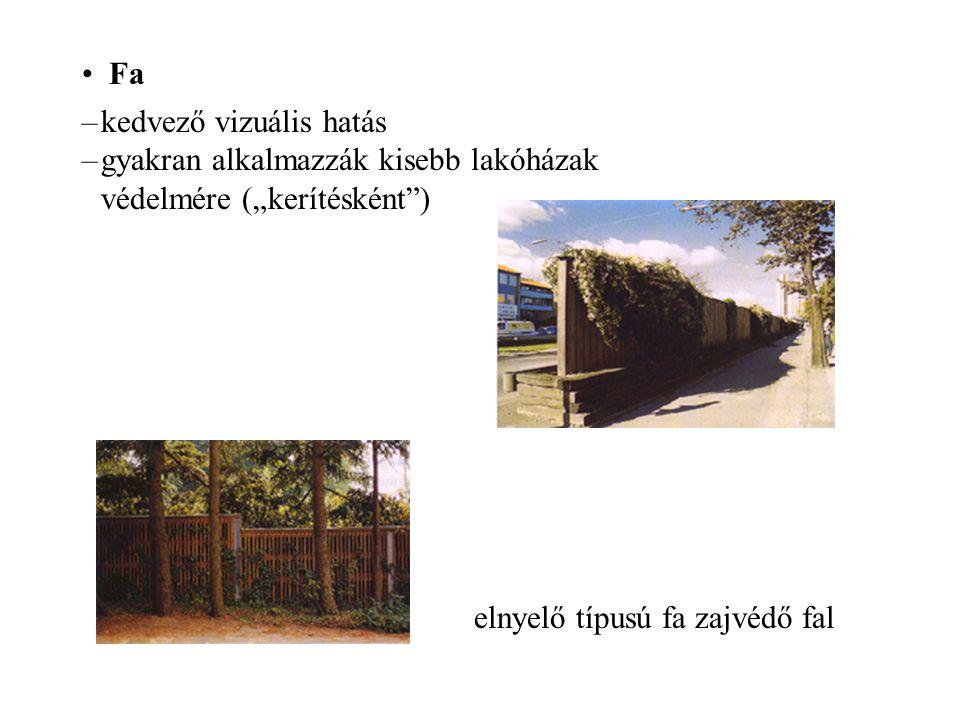 """Fa –kedvező vizuális hatás –gyakran alkalmazzák kisebb lakóházak védelmére (""""kerítésként"""") elnyelő típusú fa zajvédő fal"""
