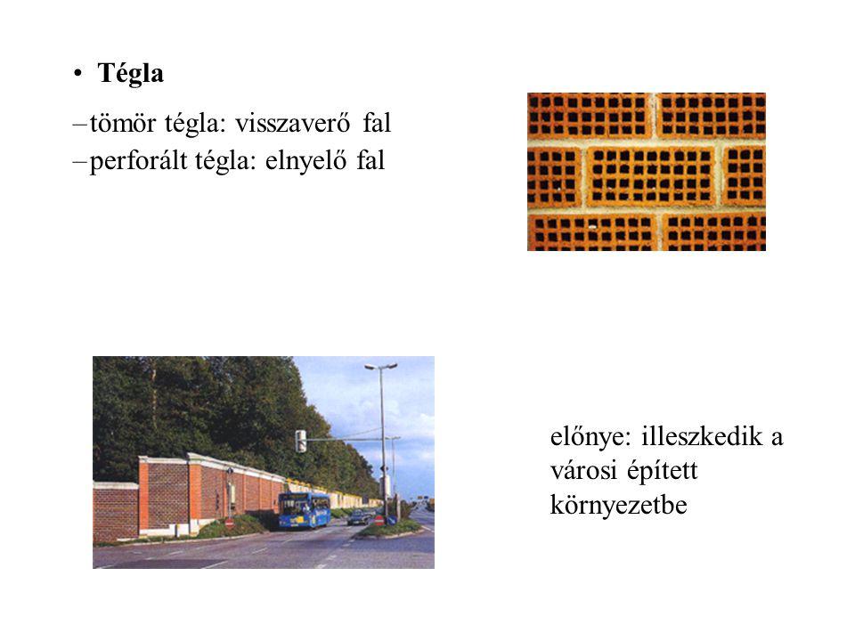 Tégla –tömör tégla: visszaverő fal –perforált tégla: elnyelő fal előnye: illeszkedik a városi épített környezetbe
