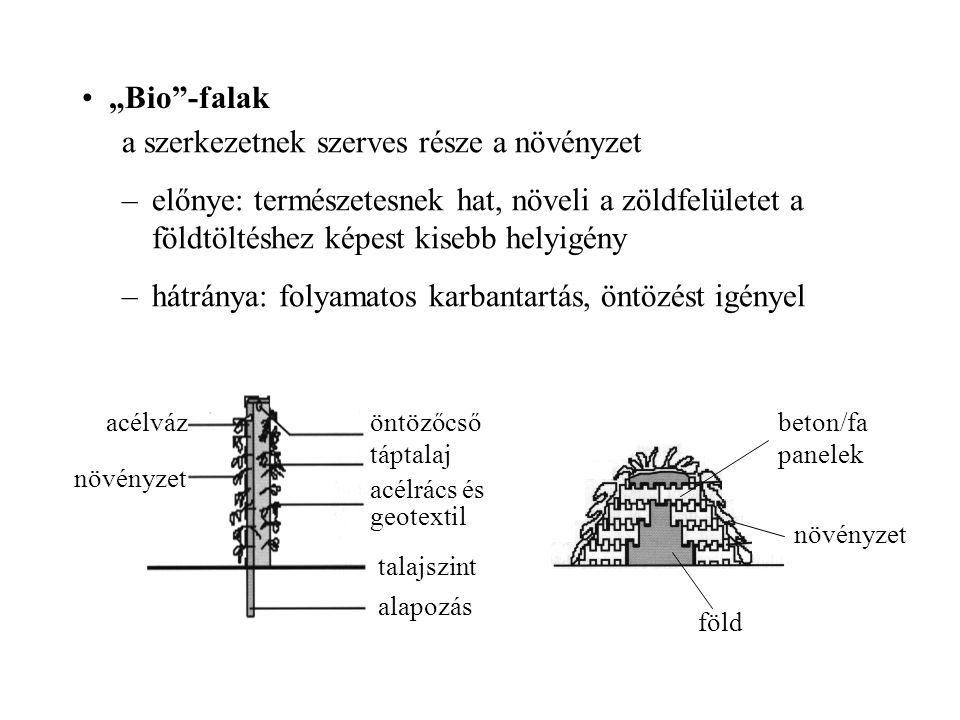 """""""Bio""""-falak a szerkezetnek szerves része a növényzet –előnye: természetesnek hat, növeli a zöldfelületet a földtöltéshez képest kisebb helyigény –hátr"""