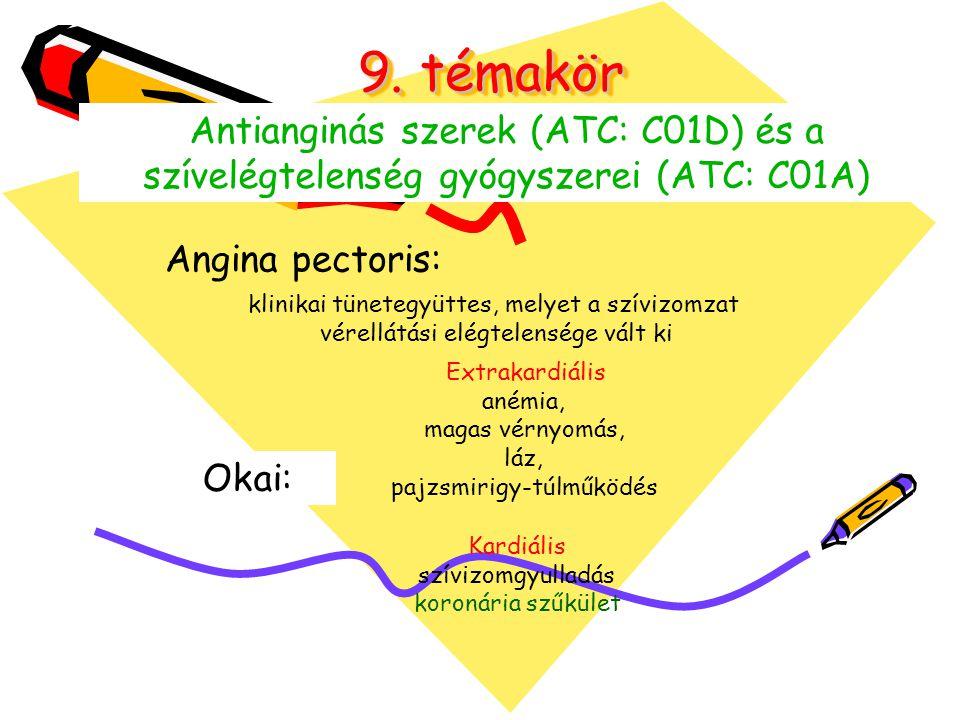 9. témakör Antianginás szerek (ATC: C01D) és a szívelégtelenség gyógyszerei (ATC: C01A) Angina pectoris: klinikai tünetegyüttes, melyet a szívizomzat