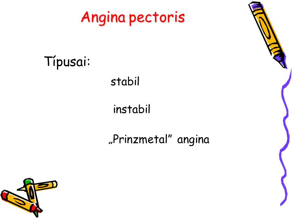 "Típusai: stabil instabil ""Prinzmetal angina"