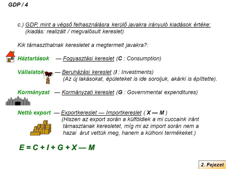 c.) GDP, mint a végső felhasználásra kerülő javakra irányuló kiadások értéke: (kiadás: realizált / megvalósult kereslet) Kik támaszthatnak keresletet