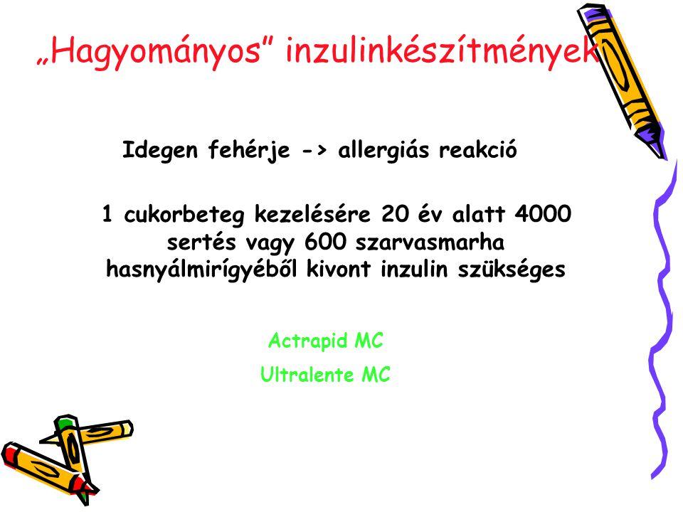 """""""Hagyományos inzulinkészítmények Idegen fehérje -> allergiás reakció Actrapid MC Ultralente MC 1 cukorbeteg kezelésére 20 év alatt 4000 sertés vagy 600 szarvasmarha hasnyálmirígyéből kivont inzulin szükséges"""