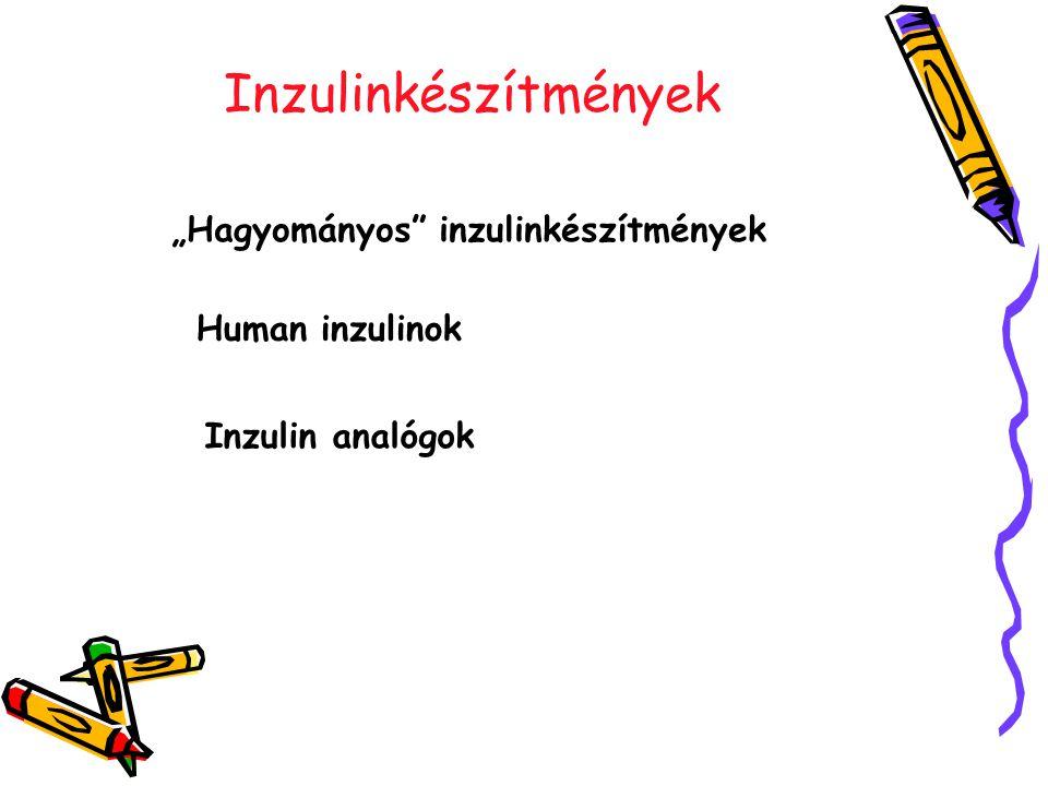 """Inzulinkészítmények """"Hagyományos inzulinkészítmények Human inzulinok Inzulin analógok"""