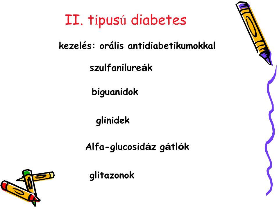 II. t í pus ú diabetes szulfanilure á k biguanidok kezelés: orális antidiabetikumokkal glinidek Alfa-glucosid á z g á tl ó k glitazonok
