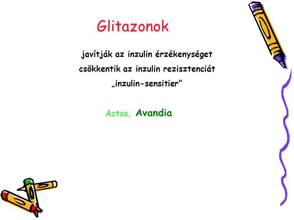 """Glitazonok javítják az inzulin érzékenységet csökkentik az inzulin rezisztenciát """"inzulin-sensitier Actos, Avandia"""