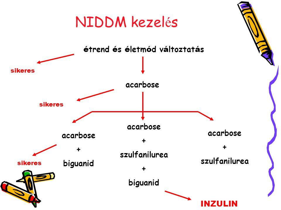 NIDDM kezel é s é trend é s é letm ó d v á ltoztat á s sikeres acarbose sikeres acarbose + biguanid acarbose + szulfanilurea + biguanid acarbose + szulfanilurea sikeres INZULIN