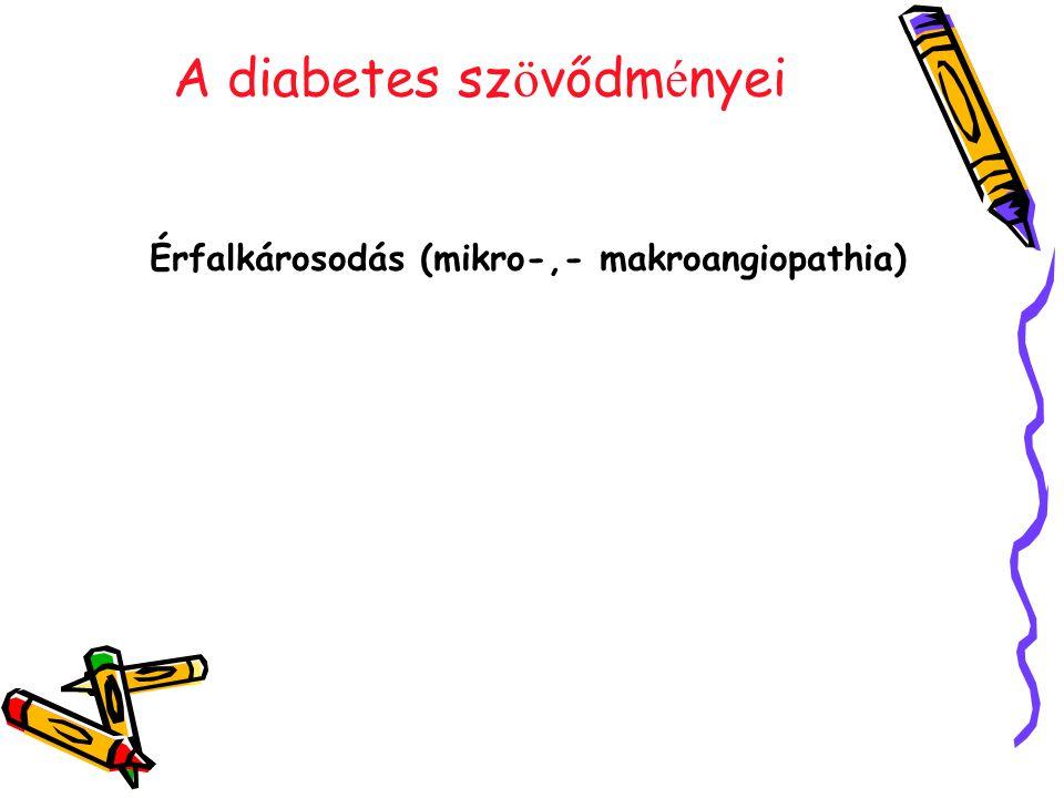 A diabetes sz ö vődm é nyei Érfalkárosodás (mikro-,- makroangiopathia)
