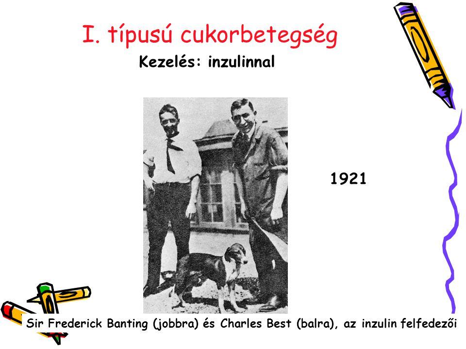I. típusú cukorbetegség Kezelés: inzulinnal Sir Frederick Banting (jobbra) és Charles Best (balra), az inzulin felfedezői 1921