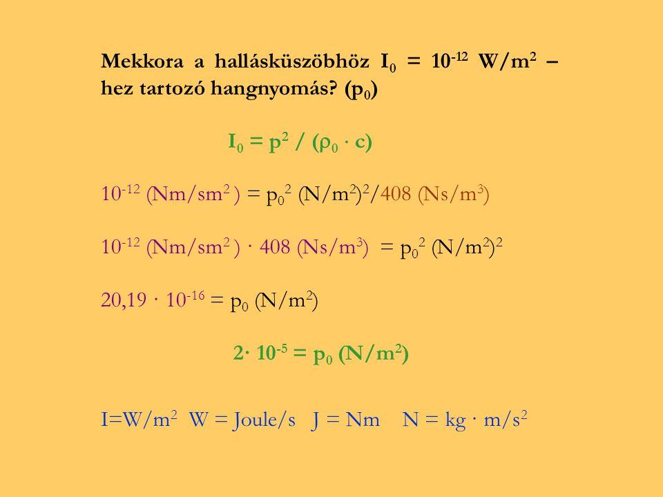 Levegő esetén  0 = 1,2 kg/m 3 c = 340 m/s  0 ·c = 408 kg/m 3 · m/s · s/s = 408 N·s/m 3 Mekkora a hallásküszöbhöz I 0 = 10 -12 W/m 2 – hez tartozó hangnyomás.