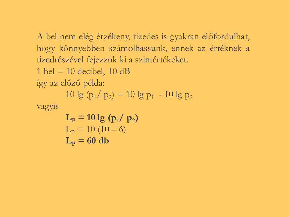 (mivel szint képzésénél teljesítményarányos mennyiségek hányadosát kell alapul venni, és I  p 2 ) L p = 10 · lg (p/p 0 ) 2 Pl.: P 1 = 10 12 Watt P 2 = 10 6 Watt L p = lg (P 1 / P 2 ) = lg P 1 – lg P 2 lg (10 12 /10 6 ) = lg 10 12 – lg 10 6 L P = 6 A szintkülönbség 6 bel Hangnyomásszint